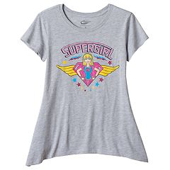 Girls Plus Size DC Comics Super Hero Girls Supergirl Sharkbite Hem Graphic Tee