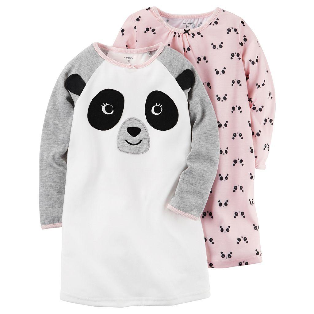 Toddler Girl Carter's 2-pk. Panda Knee Length Nightgowns