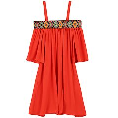 Girls 7-16 Speechless Off Shoulder Printed Elastic Shift Dress