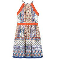 Girls 7-16 Speechless Lace Trim Mixed Pattern Halter Dress