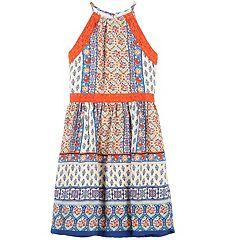Girls 7-16 Speechless Lace Trim Mixed Pattern Halter Dress