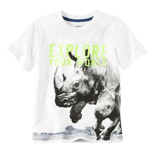 "Boys 4-8 Carter's Wrap-Around Rhino ""Explore Your World"" Graphic Tee"