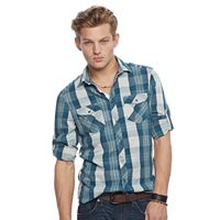 Men's Rock & Republic® Plaid Stretch Poplin Button-Down Shirt