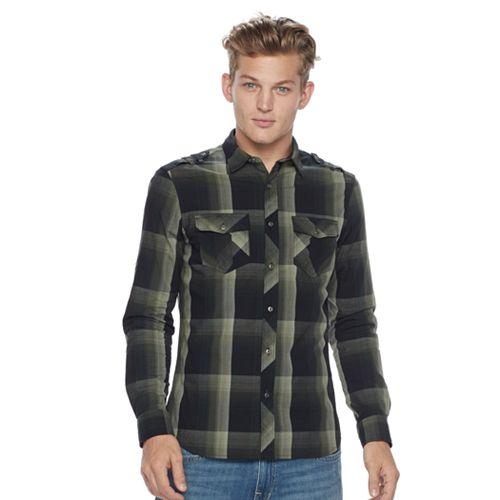 Men's Rock & Republic® Plaid Stretch Poplin Button-Down Shirt