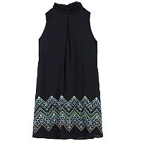 Girls 7-16 Speechless Smockneck Printed Border Shift Dress