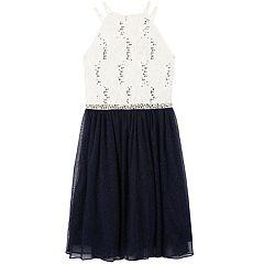 Girls 7-16 Speechless Glitter Lace Halter & Tulle Skirt Dress
