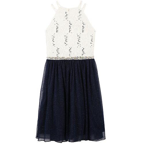 Girls 7-16 Speechless Glitter Lace Halter & Tulle Skirt Dress