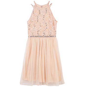 Girls 7-16 Speechless Blush Glitter Lace Halter & Tulle Skirt Dress