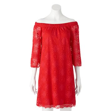 Women's Tiana B Off-the-Shoulder Red Lace Dress