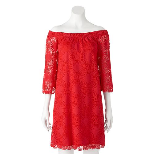 Womens Tiana B Off The Shoulder Red Lace Dress