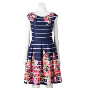 Women's Tiana B Striped Floral Fit & Flare Dress