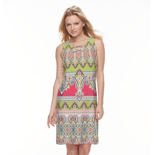 Women's MSK Scroll Lace-Up Shift Dress