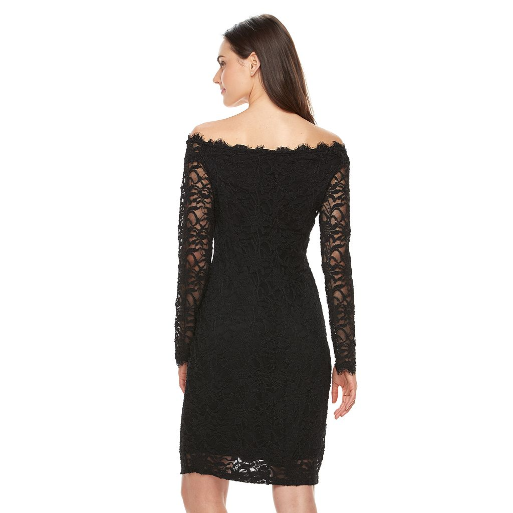 Women's Onyx Nite Lace Off-the-Shoulder Sheath Dress