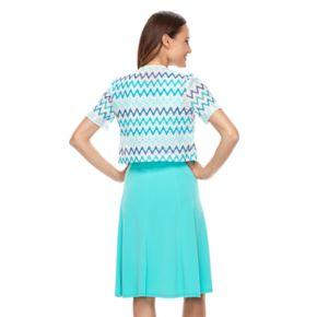 Women's Perceptions Chevron Dress & Jacket Set