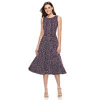 Women's Perceptions Polka-Dot A-Line Dress
