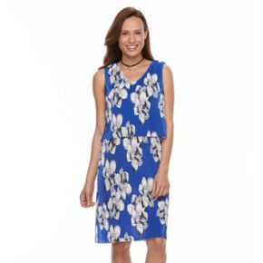 Women's Perceptions Floral Popover Dress