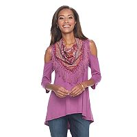 Women's World Unity Cold-Shoulder Tee & Scarf Set