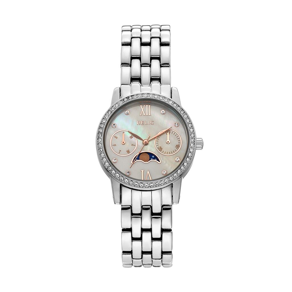Relic Women's Emily Crystal Moon Phase Watch