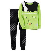 Toddler Girl Carter's 2-pc. Frankenstein Top & Polka-Dot Pants Pajama Set