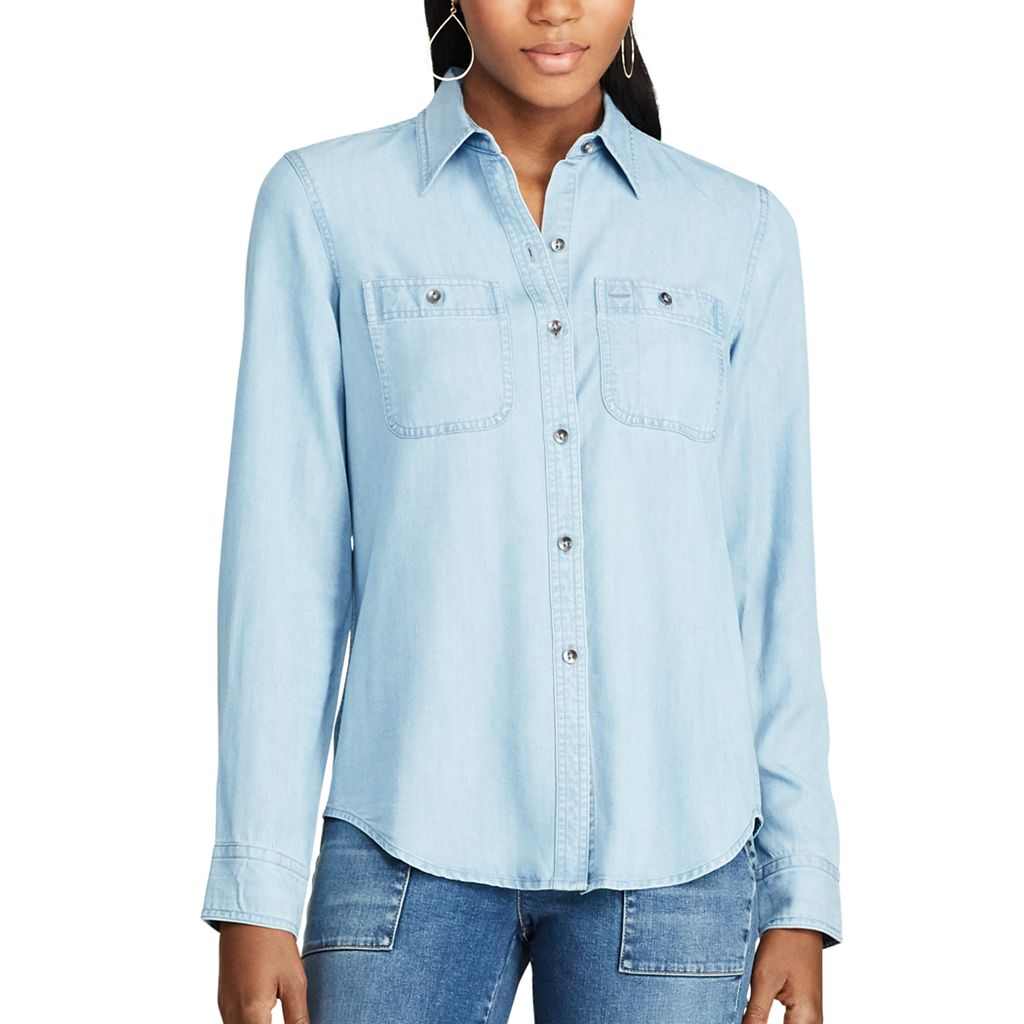 Women's Chaps Button-Down Jean Shirt
