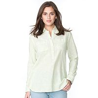 Women's Chaps Striped Linen Blend Shirt