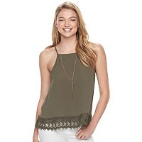Juniors' IZ Byer California Crochet Hem Necklace Tank