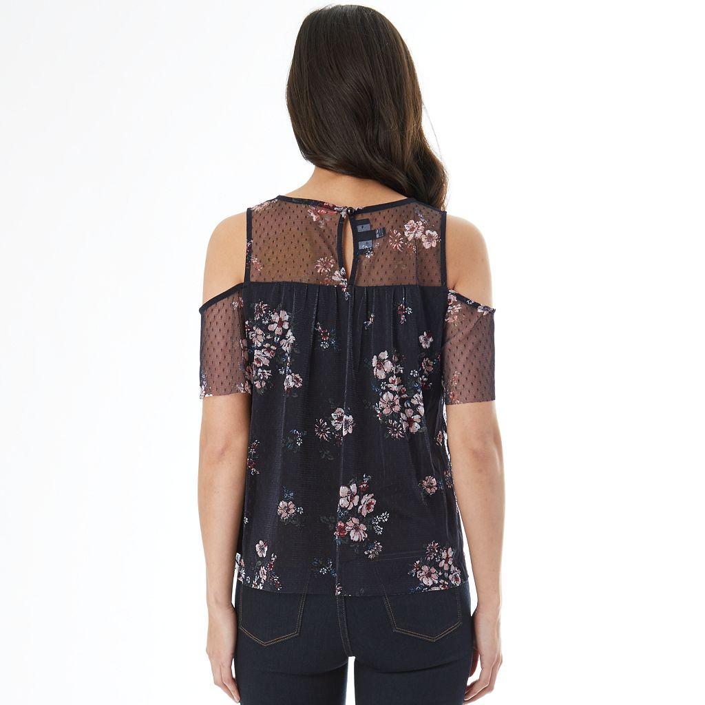 Juniors' IZ Byer Floral Cold Shoulder Top