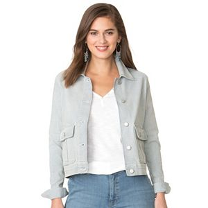 Women's Chaps Striped Jean Jacket