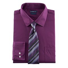 Big & Tall Croft & Barrow® Fitted Stretch-Collar Dress Shirt and Patterned Tie Boxed Set
