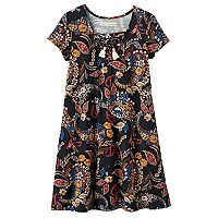 Girls 7-16 Four Threads Faux Lace-Up Swing Dress