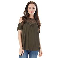 Juniors' IZ Byer California Crinkle Cold Shoulder Top