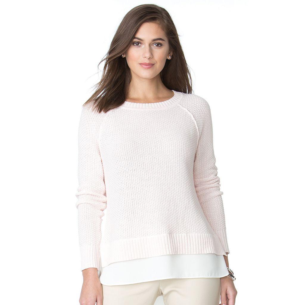 Women's Chaps Linen Blend Crewneck Sweater
