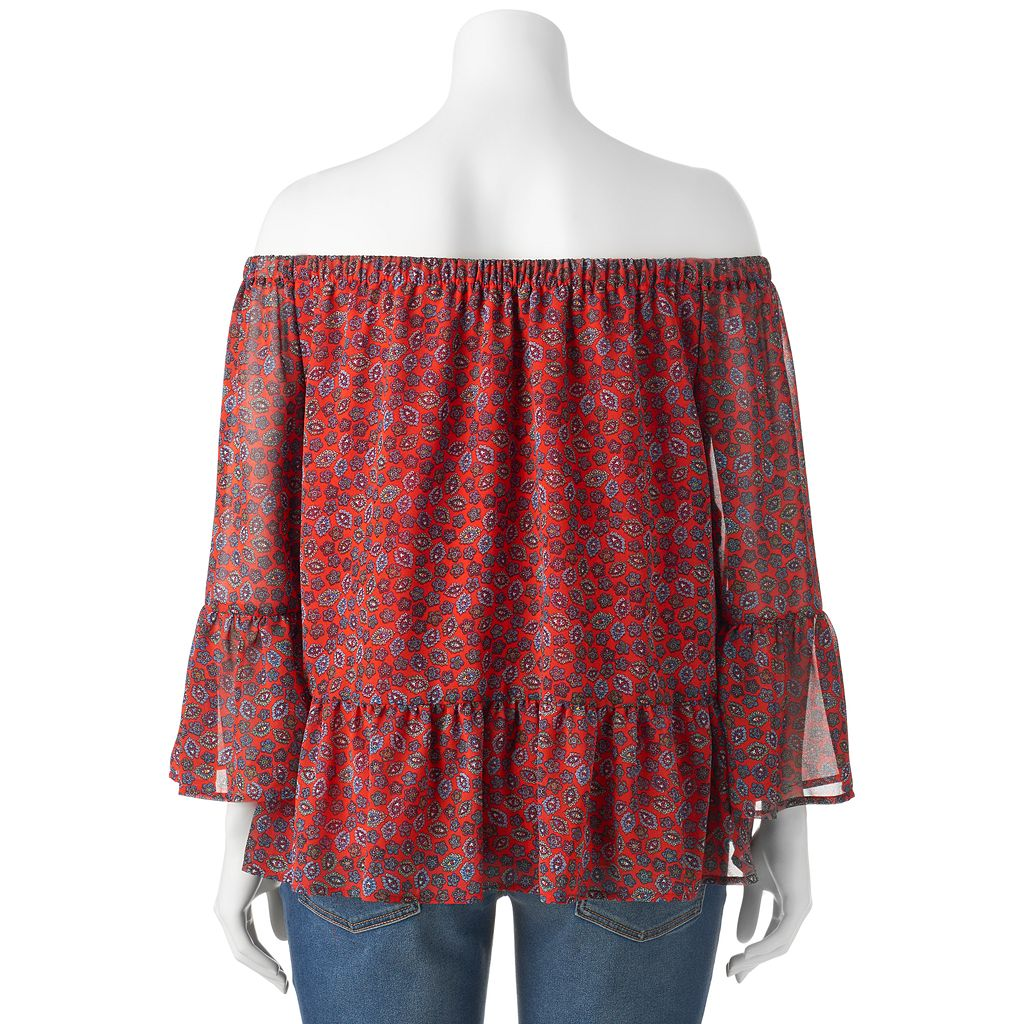 Juniors' Plus Size HeartSoul Woven Print Off Shoulder Top