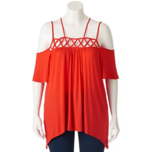 Juniors' Plus Size HeartSoul Lattice Off-the-Shoulder Top