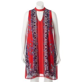 Juniors' Plus Size HeartSoul Print Choker Neck Dress