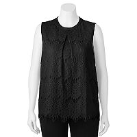 Juniors' Plus Size HeartSoul Lace Overlay Tank