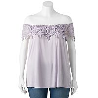 Juniors' Plus Size HeartSoul Crochet Off-the-Shoulder Top