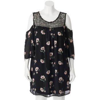 Juniors' Plus Size HeartSoul Crochet Cold-Shoulder Swing Dress