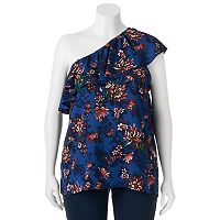 Juniors' Plus Size HeartSoul Floral One-Shoulder Top