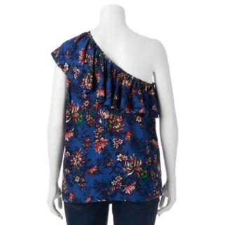 Juniors' Plus Size HeartSoul Floral One-Shoulder Top