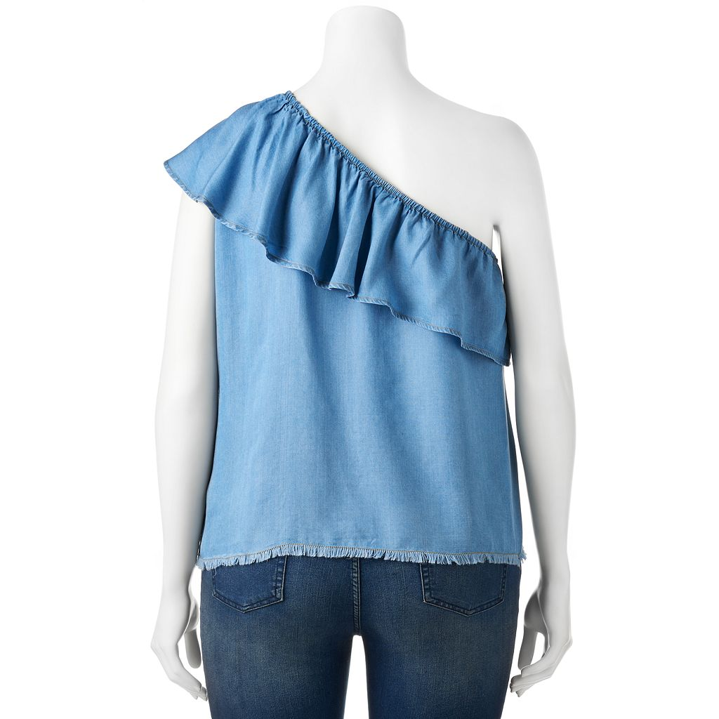 Juniors' Plus Size HeartSoul Chambray One Shoulder Top