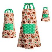 Girls 4-16 & Women's Dollie & Me Reversible Thanksgiving Turkey & Christmas Tree Apron Set