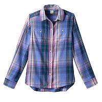 Girls 7-16 & Plus Size Mudd® Curved Hem Plaid Button-Down Shirt