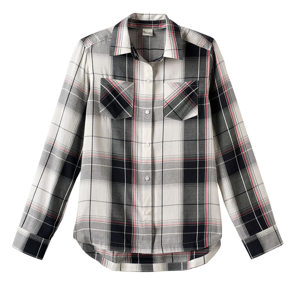 Girls 7-16 & Plus Size Mudd® Curved Hem Plaid Button-Down Shirt