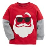 Baby Boy Carter's Sunglasses Santa Face Mock Layer Thermal Tee