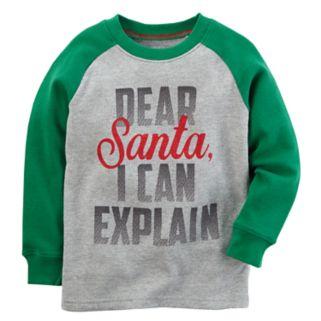 "Baby Boy Carter's ""Dear Santa, I Can Explain"" Raglan Tee"