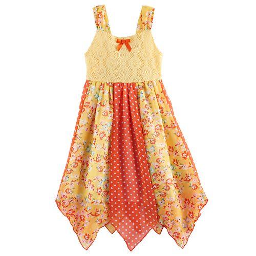 73c8cd89cc64 Toddler Girl Blueberi Boulevard Floral   Dot Hanky Hem Sundress