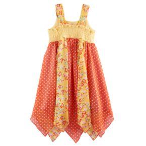 Toddler Girl Blueberi Boulevard Floral & Dot Hanky Hem Sundress