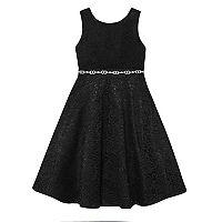 Girls 7-16 American Princess Rhinestone Waist Lace A-Lined Dress