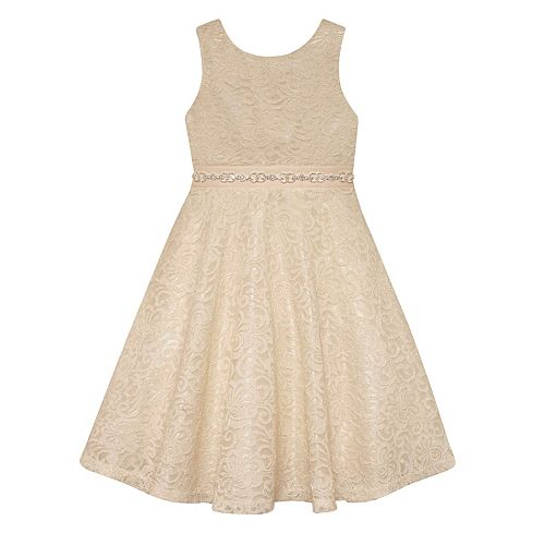 Girls 7-16 American Princess Rhinestone Waist Lace A-Lined Dress